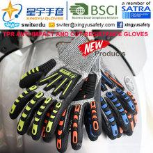 Luvas Cortar-Resistência e Anti-Impacto TPR, 15g Hppe Shell Nível de Corte 3, Espuma Nitrílica Palm Revestida, Anti-Impacto TPR em Back Mechanic Gloves