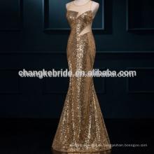 Brillante brillo dorado sexy back Sirena vestidos de noche Sequined largo formal vestidos de noche