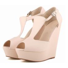 Sandálias de cunha de senhoras de salto alto de boca de estilo novo estilo (HS17-82)