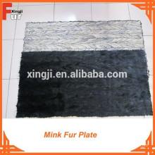 Plaque en fourrure de vison de première qualité de couleur noire