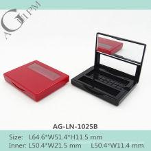 Une grille rectangulaire ombre à paupières cas avec miroir & fenêtre AG-LN-1025B, AGPM empaquetage cosmétique, couleurs/Logo personnalisé