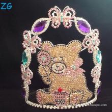 Corona lindo modificada para requisitos particulares linda del oso para los cabritos, coronas al por mayor de los cabritos del cristal