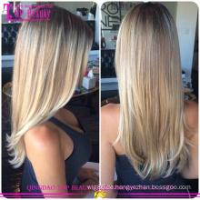 Gerade brasilianische Jungfrau Haar Farbverlauf Band Haarverlängerung