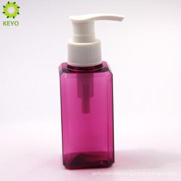 100ml empty square shampoo cosmetic clear colored plastic pump bottle