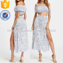 Floral Print Crop Top With Slit Side Skirt Manufacture Wholesale Fashion Women Apparel (TA4013SS)