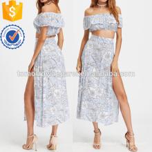 Top de corte de impressão floral com fenda lateral saia fabricação atacado moda feminina vestuário (TA4013SS)