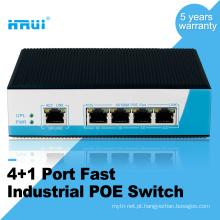 Venda quente 10/100 M 4 porta industrial Switch de rede POE