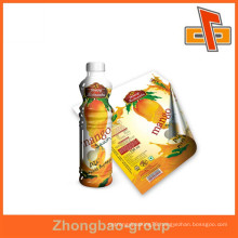 Guangzhou supplier OEM customize heat sensitive PVC plastic bottle label shrink with printing