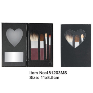 4pcs brown plastic handle animal/nylon hair makeup brush tool set with heart shape mirrored fold case