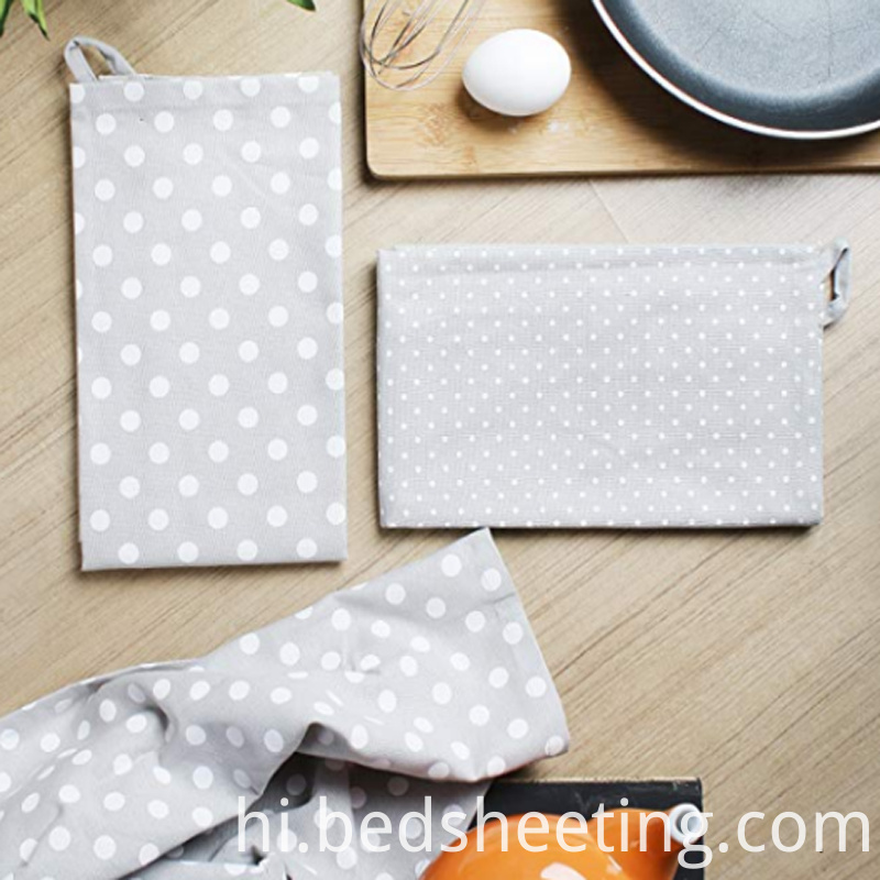 Grey Cotton Dish Towels With Dots