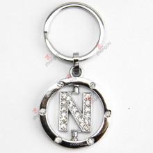 Drehender Buchstabe N Rhinestone-Metall Keychain