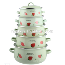 printing decal ceramic enameled pot casserole with metal lid