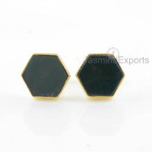 Brincos de ouro 18k, jóias brincos de gemstone de ágata de musgo para mulheres