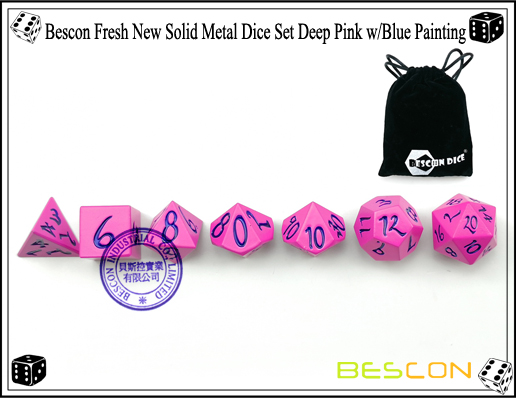 Bescon Fresh New Solid Metal Dice Set Deep Pink with Blue Painting-3