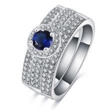 Prata banhado latão mirco pavimentar safira anel de casamento azul (cri0510-b)