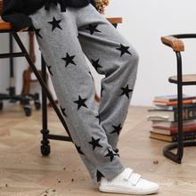 Women pants with star knitting pattern 100% pure cashmere pants elastic waist straight winter pants