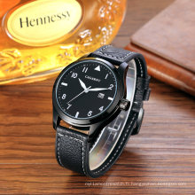 Mode unisexe montre-bracelet 43mm étui ssbuckle ip noir coloré