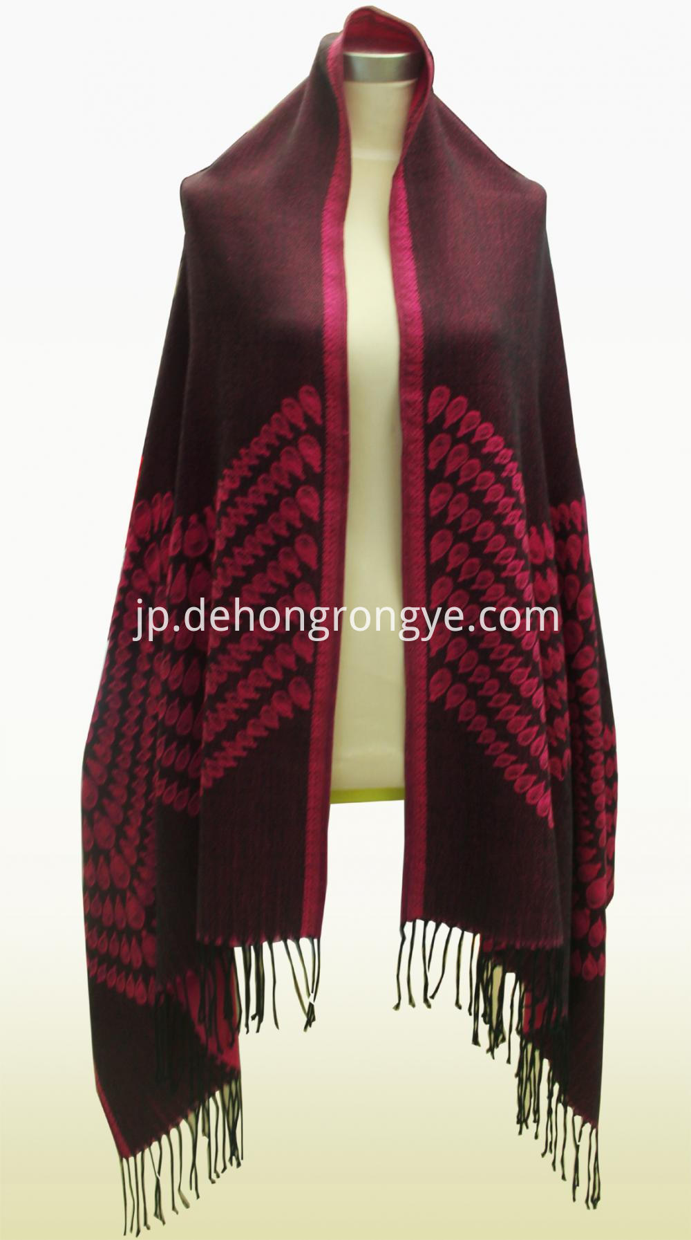 Wine Red Worsted Cashmere Jacquard Shawl