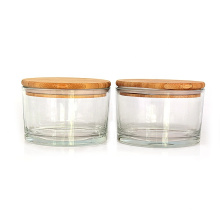 Eco friendly 500ml clear round Glass Fruit Bowl glass salad bowl with bamboo lid