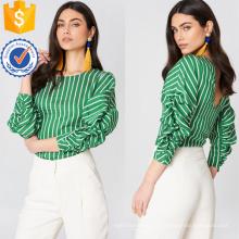 Rayas verdes y blancas de manga tres cuartos blusa abierta espalda fabricación al por mayor de ropa de mujer de moda (TA0039B)