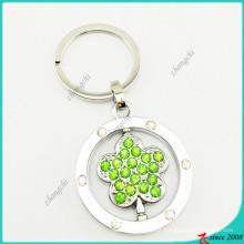 Corrente chave da liga de cristal por atacado da flor verde (KR16041920)
