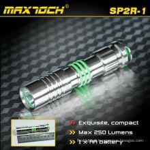 Maxtoch SP2R-1 Max 250 Lumens IPX7 aço inoxidável LED Mini portátil pequeno