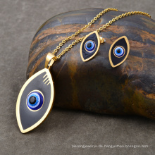 Trendy Vergoldete Emaille Evil Eye African Modeschmuck Set