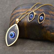 Na moda banhado a ouro esmalte olho mau conjunto de jóias de moda africana