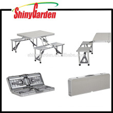 Mesa y silla plegables de aluminio MDF para uso exterior