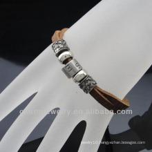 2014 new fashion Brown leather Alloy bead bracelet BGL-051