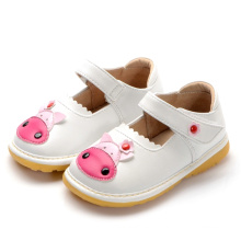White Baby Cow Squeaky Shoes Handmade Soft