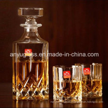 Fashion Square Liquor/Wine/Spirit/ Glass Bottles with Glass Lid