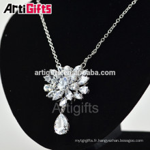 Top qualité collier de charme de bijoux de mariée en zircon cubique diamant