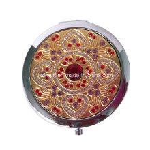 Beautiful Gemstone Gold Metal Vanity Cosmetic Mirror