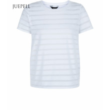 Camiseta blanca de algodón con manga corta y manga corta para mujer de Burn out