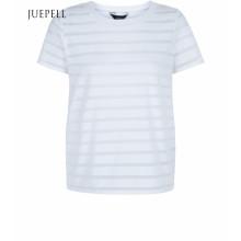 Branco Queimar Stripe Manga Curta de Algodão Mulheres Camiseta