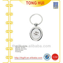 Oval Laser engraved logo Key chains/key rings metal