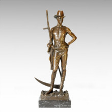 Soldiers Figure Statue Male Mowing Bronze Sculpture TPE-201