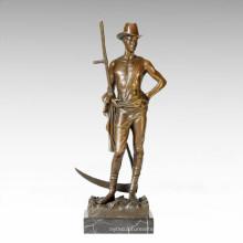 Статуэтка солдатских фигур Мужская коса бронзовая скульптура TPE-201