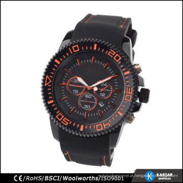 Homens de relógio de silicone preto