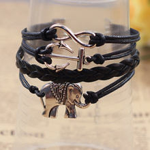 new original silver anchor and elephant charm infinity bracelets black leather cord bracelet hand made jewelry wholesale
