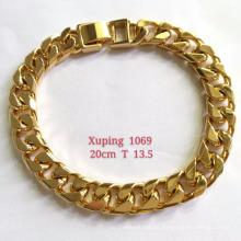 Pulsera-001 Pulsera de aleación de cobre Charm 18k Pulsera de cadena plateada oro para hombre