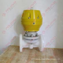 Flanged pneumatic diaphragm valve plastic pvdf valve
