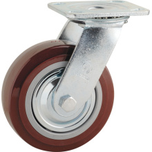 H1 Heavy Duty Type Double Ball Bearing Red PU Swivel Caster