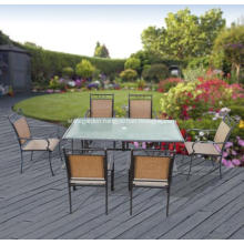 Outdoor sling furniture 7pc dining set-2*1 textilene-glass top