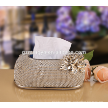Pearl decorated indoor useful tissue box,resin high quality tissue paper holder