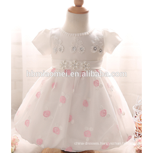 High quality white color baby girls christening one year old birthday infant girl dresses
