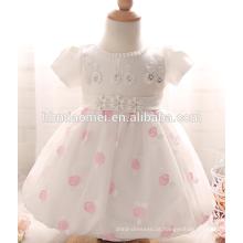 Alta qualidade cor branca meninas batismo de um ano de idade do aniversário infantil menina vestidos