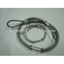 Stainless steel whip check safety cable for hose to hose service