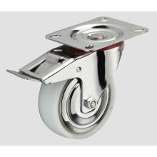 Roulette en nylon industriel à roulettes de 3 pouces avec frein latéral